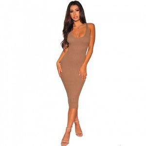 Mocha knit ribbed sleveless dress